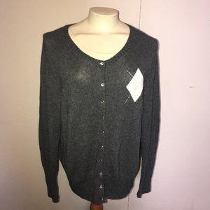 Nerdy Preppy Gray Cardigan Sweater